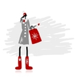 Girl in winter coat with shopping bag for your vector image vector image