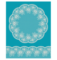 Round lacy frame on blue background vector image vector image