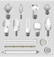 3d lamps types of led bulbs isolated icons vector image