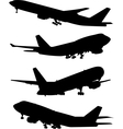 airplane silhouette set vector image vector image