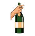Champagne bottle pop art vector image