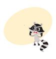cute little raccoon character unpleasantly vector image