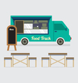 Food Truck With Table Set vector image