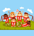 football team waving hands and smiling for photo vector image