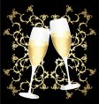golden flower cups of champagne vector image