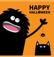happy halloween pumpkin text black monster vector image