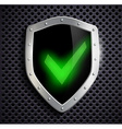 metal shield with green tick vector image