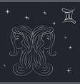 sign of the zodiac gemini is the starry sky vector image