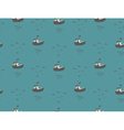 Seagulls and boats sea view seamless pattern vector image