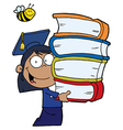 Child holding books cartoon vector image