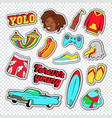 beach vacation stickers with surf board vector image vector image