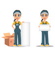 courier woman holding placard and standing near vector image