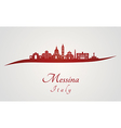 Messina skyline in red vector image