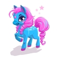 Cute cartoon little blue horse with pink hair vector image
