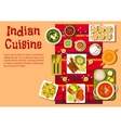 Indian cuisine dishes and snacks vector image vector image