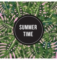 Summer Time poster Text with black circle on palm vector image vector image