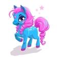 Cute cartoon little blue horse with pink hair vector image