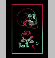 death skull flower frame vector image