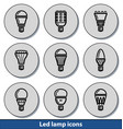 light led lamp icons vector image