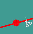 scissors cut straight red ribbon on the right big vector image