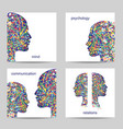Set of four square cards Stylish abstract vector image