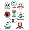 Team sports heraldic badges or logo vector image
