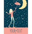 girl under stars rain vector image