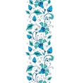 blue green swirly flowers vertical border vector image