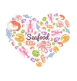 Love Seafood Concept vector image