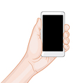 hand holding a white smartphone with blank screen vector image