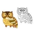 Cartoon brown short eared owl vector image vector image