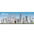 Atlanta Skyline with Gray Buildings and Blue Sky vector image
