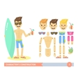 Characters constructor young fit man on the beach vector image