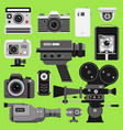 photo video camera tools optic lenses set vector image