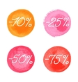 Sale icons in watercolor style vector image