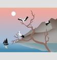 Storks on a tree vector image