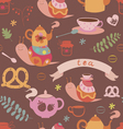 Tea and cute snails seamless pattern vector image