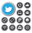 Mobile devices and network icons set vector image vector image