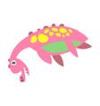 cute funny pink dinosaur lying prehistoric animal vector image