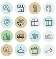 set of 16 e-commerce icons includes handbag vector image