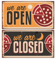 Vintage door signs set for pizzeria vector image