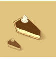 cheese cake with chocolate and cream on the top vector image