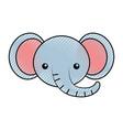 cute scribble elephant face cartoon vector image
