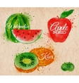 Fruit watercolor watermelon kiwi apple red in vector image