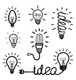 Hand drawn light bulb icons vector image