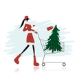 Santa girl with christmas tree in trolley vector image