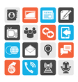 Silhouette Media and communication icons vector image