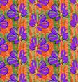 Big purple flower on green and orange grunge vector image