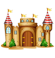 A castle with four banners vector image vector image
