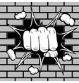 Clenched fist hit the wall emblem vector image vector image